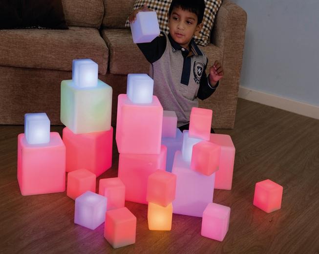 Cubos de bloques de construcción sensorial para niños con autismo